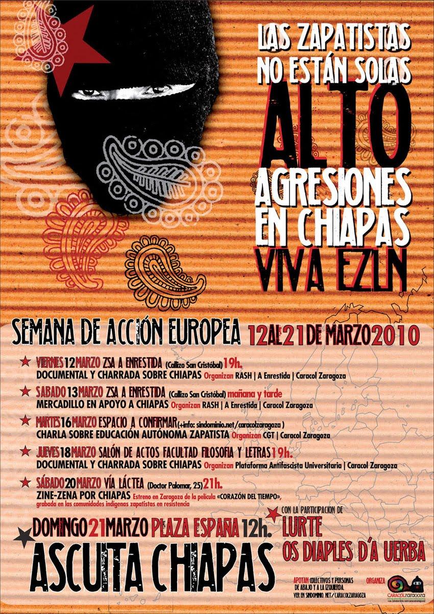 Cartel de la Semana de Acción Global en Solidaridad con las comunidades zapatistas en resistencia. De Caracol Zaragoza.