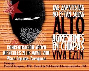 concentración apoyo bases zapatistas 21M Zaragoza