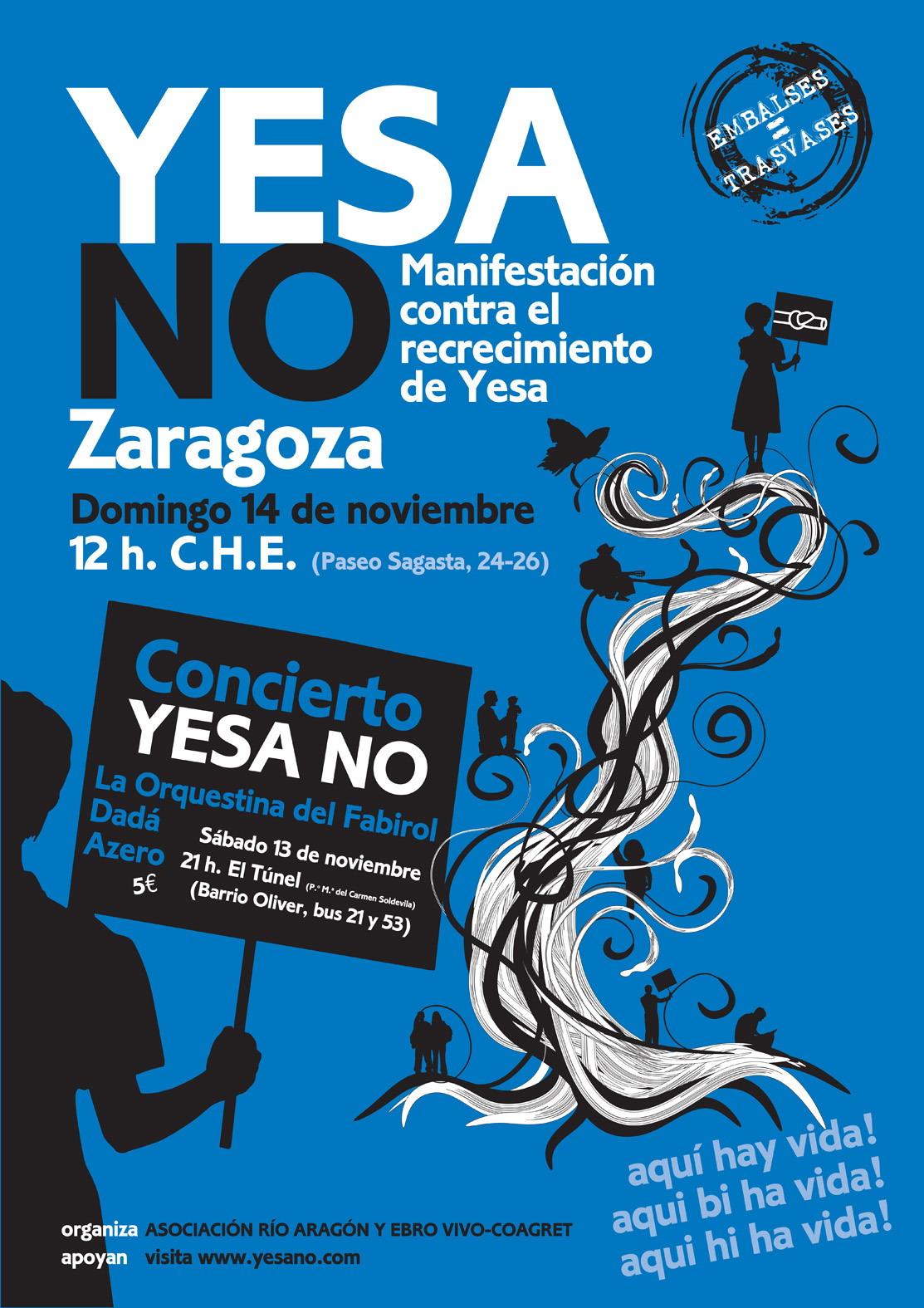 No al recrecimiento de Yesa - Manifestacion 14 noviembre 2010 - 12h. C.H.E. Zaragoza