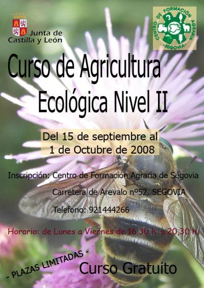 Cartel Curso de agricultura ecológica de la Diputación de Segovia